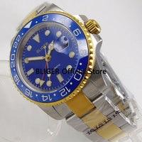 BLIGER 40 MM Logo/Nologo Relógio Mostrador Azul dos homens Banhado A Ouro Caso Função GMT Luminosos Safira Movimento Automático relógio dos homens