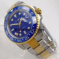 BLIGER 40 MM Logo/Nologo herren Uhr Blau Zifferblatt Goldene Überzogene Fall GMT Funktion Luminous Sapphire Automatische Bewegung herren Uhr