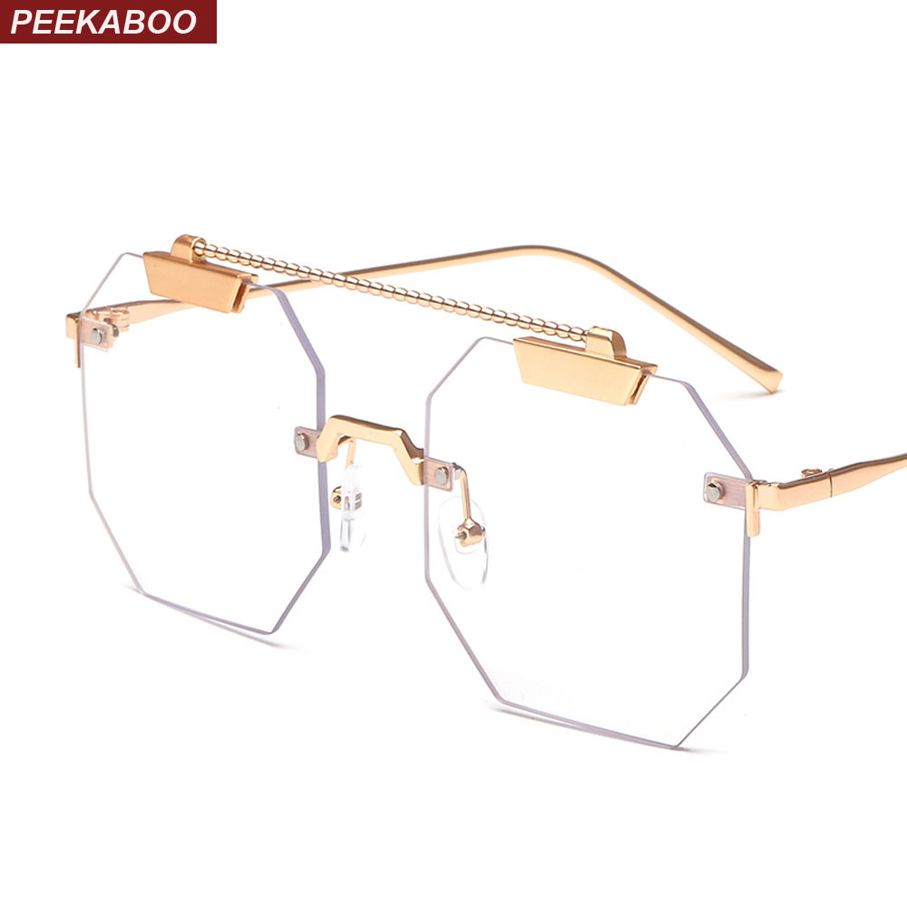 9ef8edbd142e Peekaboo men square eyeglasses frame women rimless 2019 vintage octagonal  glasses frames metal clear lens-in Eyewear Frames from Apparel Accessories  on ...