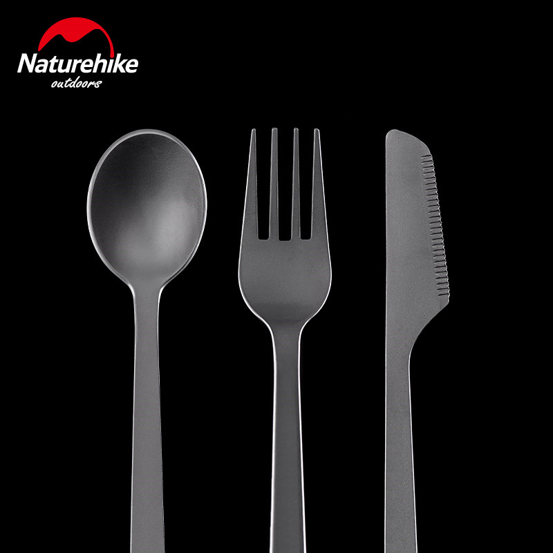 Naturehike Titanium Cutlery Knife Fork Spoon Outdoor Camping Tableware Ultralight Portable High Strength Three in One Cutlery in Outdoor Tablewares from Sports Entertainment