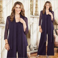 Customized Navy Blue Three Pieces Chiffon mother bride formal pant suits 2019 Elegant wedding mother dress