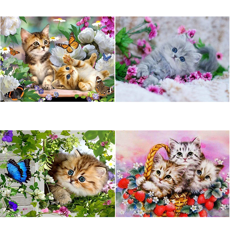 5D DIY Full Square/Round Drill Diamond Painting Animal butterfly & cat Rhinestone Cross stitch embroidery Mosaic home decor gift(China)