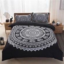 Bohemia Negro Blanco Impresión Funda Nórdica conjunto Queen King Size juego de cama (sin relleno, hoja) Al Por Mayor