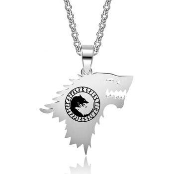 1ebbe150d1a1 Abaicer-Viking runas Odins protección sigilo Yin Yang Lobo colgante collar Acero  inoxidable regalos para mujeres y hombres