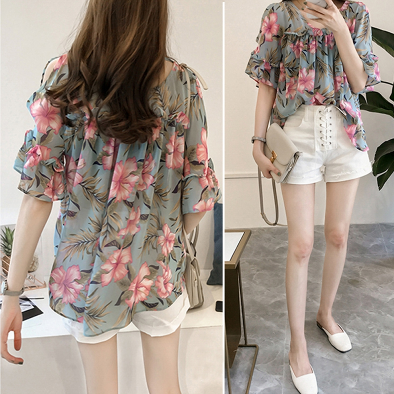 Floral Printed Chiffon Blouse Women Sexy Cold Shoulder Shirts Summer Casual Butterfly Sleeve Tops Laides Elegant camisas mujer in Blouses amp Shirts from Women 39 s Clothing
