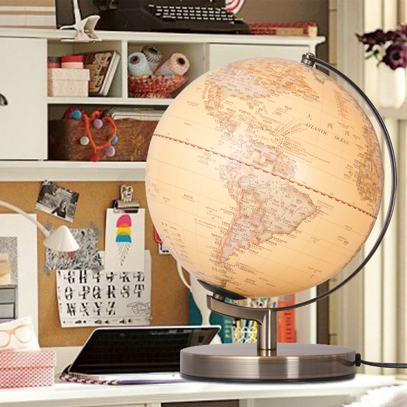 25cm Antique 3D Relief Earth Globe Table Lamp Student Kids Geography Gifts Study Office Desk Decor World Map Light  Kids Lamps 1pc 32cm world globe map ornaments with swivel stand home office office shop desk decor world map geography educational tool