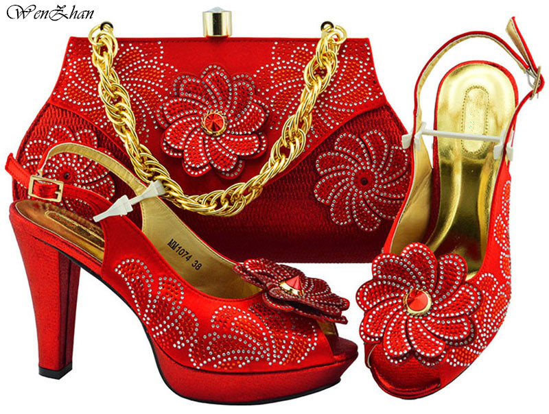 Fashion looking Italian Shoes and bag to match 38-43 good quality Newest red color shoes and bag set For lady B89-22 fashion shoes and bags to match italian design for lady good material in retail and wholesale free shipping mjt1 13