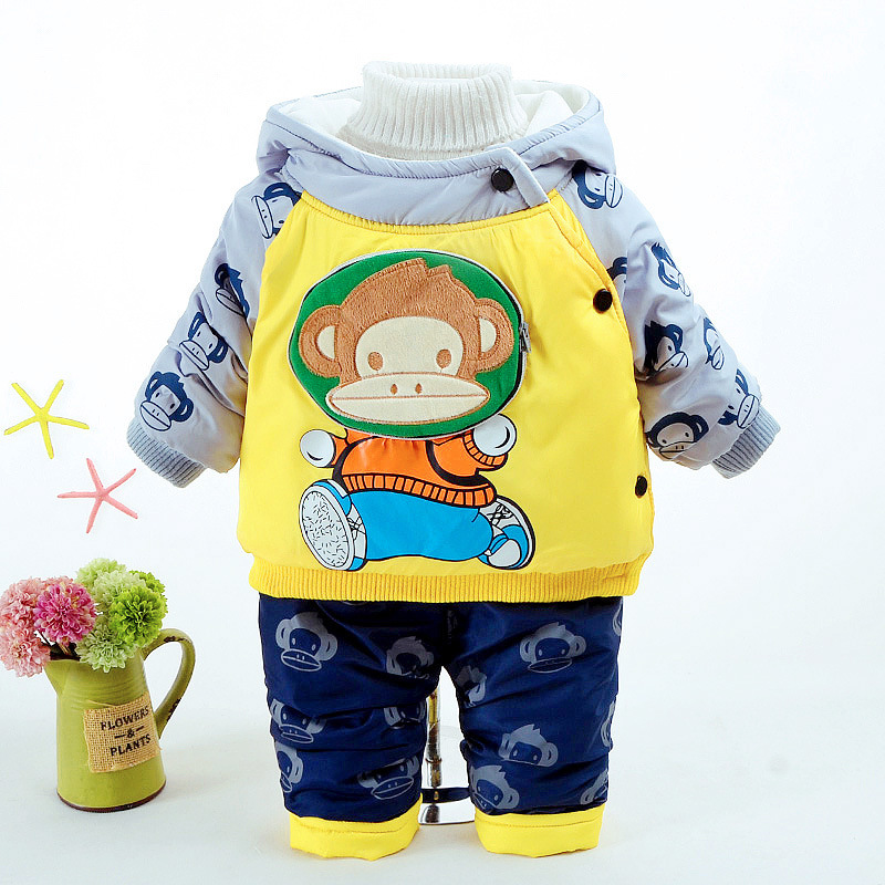 Baby Boy Clothing Set Velvet Toddler Clothes Winter Tracksuits Kids Sport Suit Set Casual Cartoon Hooded Coats/Jacket+pant baby boy girl clothing set toddler clothes autumn cartoon tracksuits kids sport suit set coat pant 2pcs casual cardigan coats