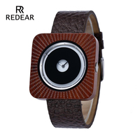 REDEAR Timepieces Quartz Wood Watch Men Or Women Sandalwood Watch Brown Leather Strap Luxury Wristwatches Anniversary Gifts