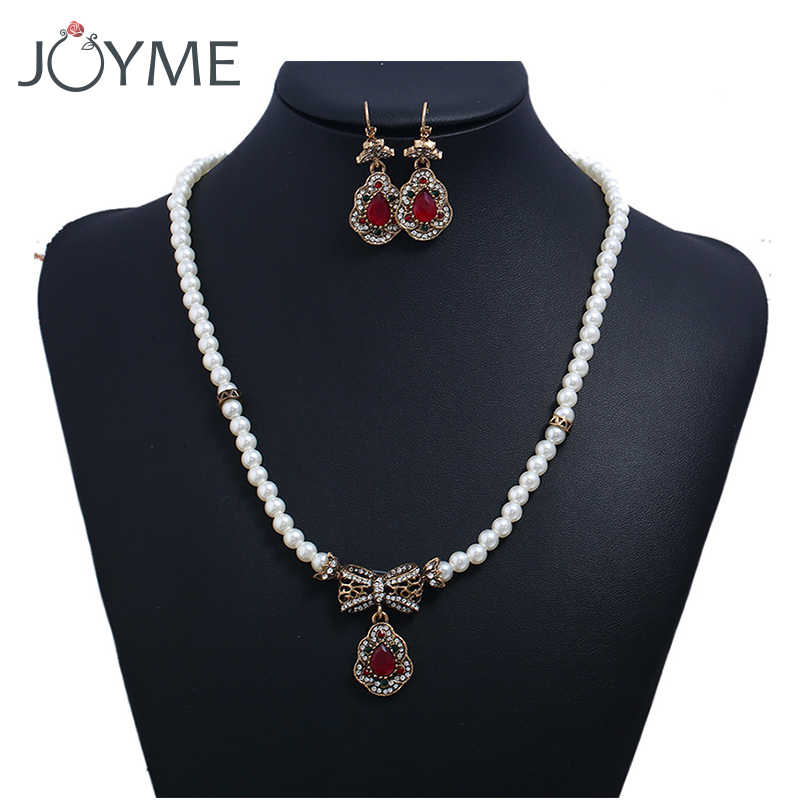 Turkish Jewelry Vintage Gold Necklace And Earring Sets Wedding Bridesmaid Bridal Jewelry Set Pearl Jewelery Sets for Women