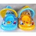 New Baby Kids Swim Ring Float Seat With Wheel Handle + Sunshade Water Pool Fun Cartoon Monkey Pattern Swimming Rings