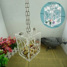 1 Pcs Parrot Bird Cage Feeder Hang Foraging Toys Pet Treat Hunt Macaw Cockatoo Acrylic Material Bird Toys Free Shipping