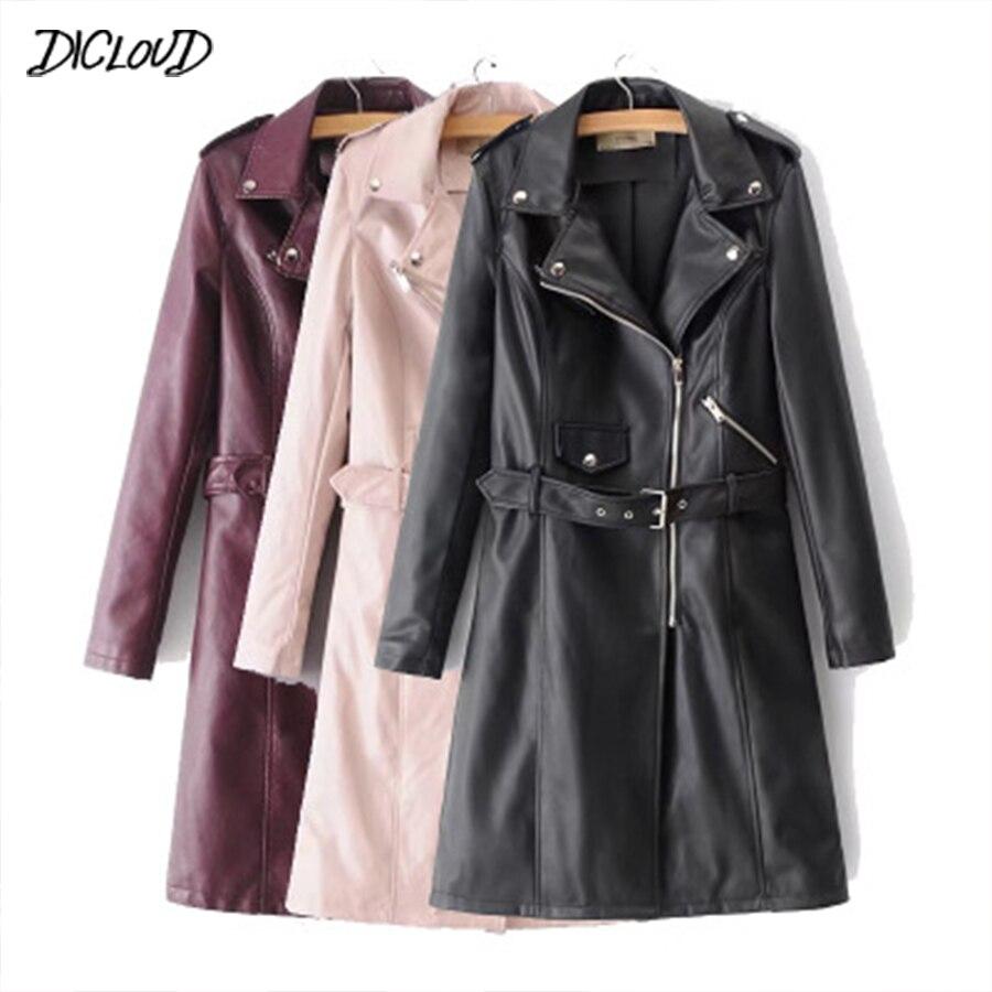 DICLOUD 2018 PU   Leather   Jacket Women Fashion Slim Fit Motorcycle Long Coat Streetwaer Zipper Punk Biker Jacket Casual Outwear