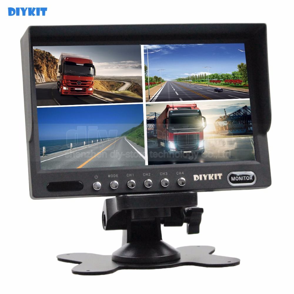 DIYKIT High Quality 7 Inch 4 Split Quad Display Color Video Security Monitor for Car Truck Bus Reversing Camera diysecur high quality 7 inch 4 split quad display color rear view monitor for car truck bus reversing camera monitoring system