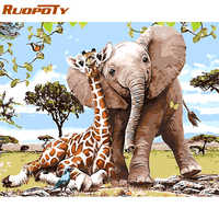 RUOPOTY Frame Giraffe And Elephant DIY Painting By Numbers Modern Wall Art Picture Handpainted Oil Painting For Home Decor 40x50
