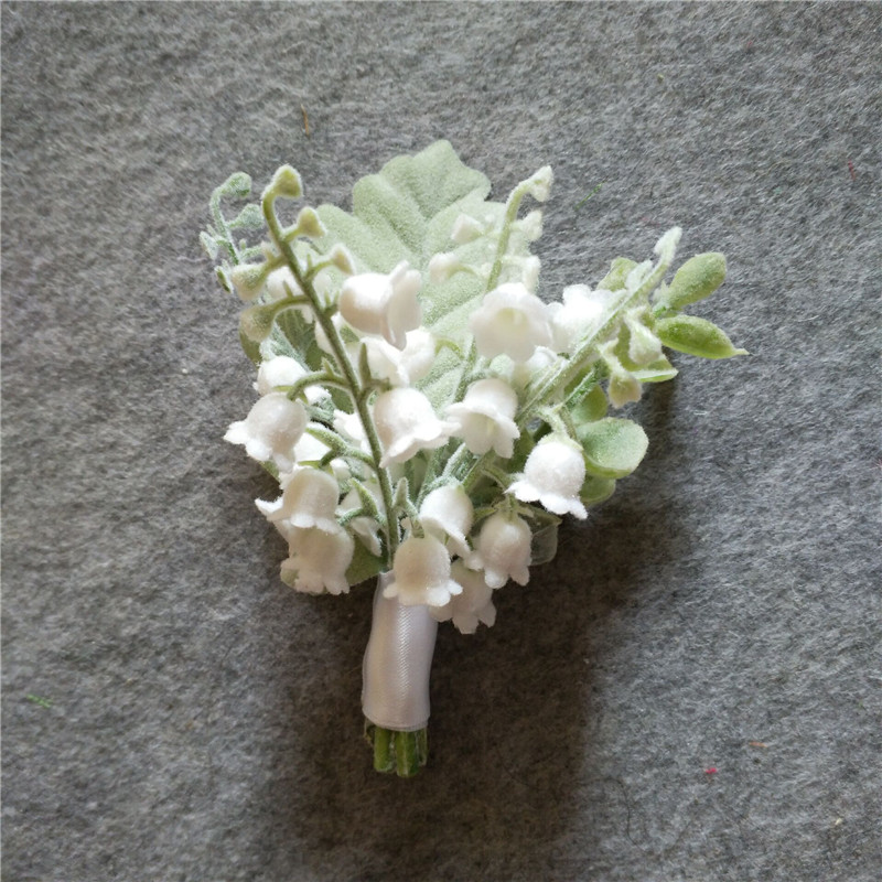 Lily Of The Valley Wedding Flowers: WeddingBobDIY White Groom Boutonniere Artificial Lily Of