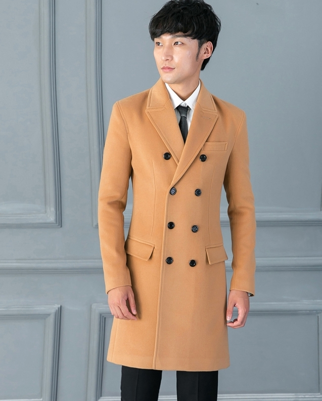 Brand High Quality Fit Lake Blue Woolen Coat Mens Causal Business