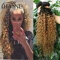 Ombre peruano Kinky Curly Cabelo Weave 4 Bundles Remy Do Cabelo Humano Feixes de tecer Cabelo Loiro Escuro Raiz Curto Encaracolado Tecer Cabelo Humano