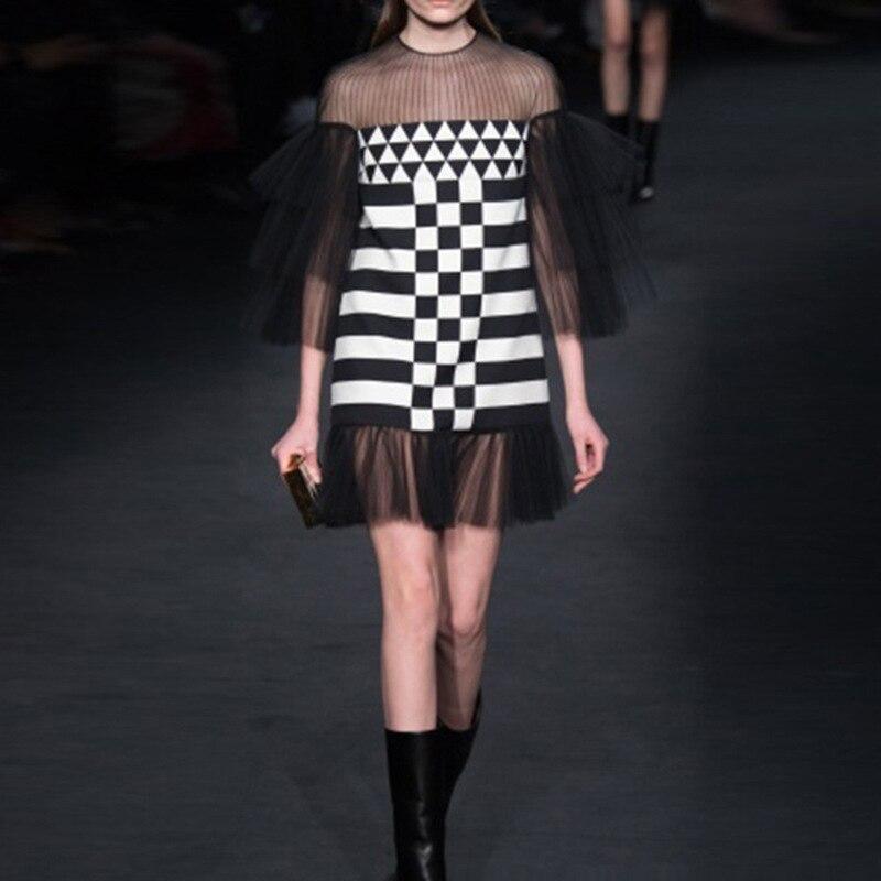 Robe Piste Classique Maille Travers Dames Patchwork Femmes Black Blanc Noir À Voir Sexy Ruche Couches 1Cq501rx