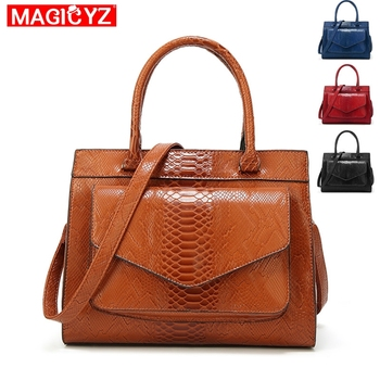 Serpentine pattern 2018 Women Shoulder Bags brown black luxury women leather handbag Casual Shopping Tote With Purse Bolsas grande bolsas femininas de couro