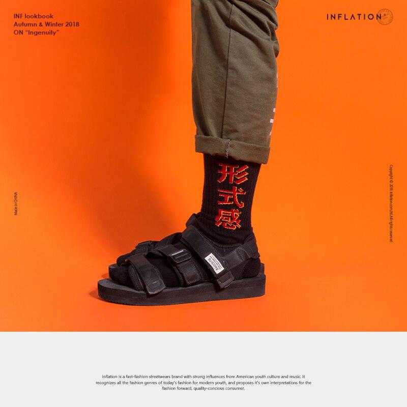 INFLATION Zhongwen Chinese character new style fashion high street skate hiphop streetwear long crew men   socks   924AI2018