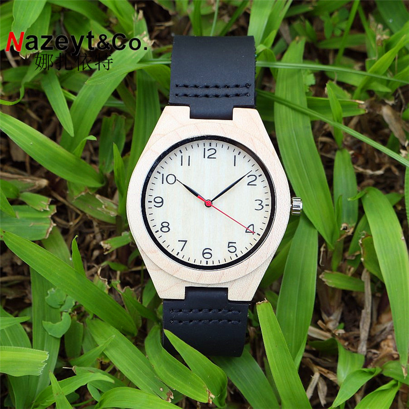 Hotime A10 Watch For Men Women White Wood Case Quartz Watches With Black Soft Leather Straps Relojes Mujer Marca De Lujo 2017