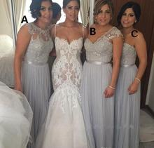 Cheap 2016 Silver Chiffon Long Bridesmaid Dresses 2016 A Line Beaded Lace Wedding Party Dresses Prom Gowns Vestido De Festa C43