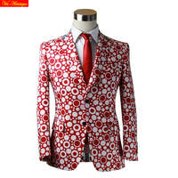 Männer casual jacke herbst winter baumwolle blends blazer partei anzüge smoking herren weste zugeschnitten coat navy red polka dot 17 VA