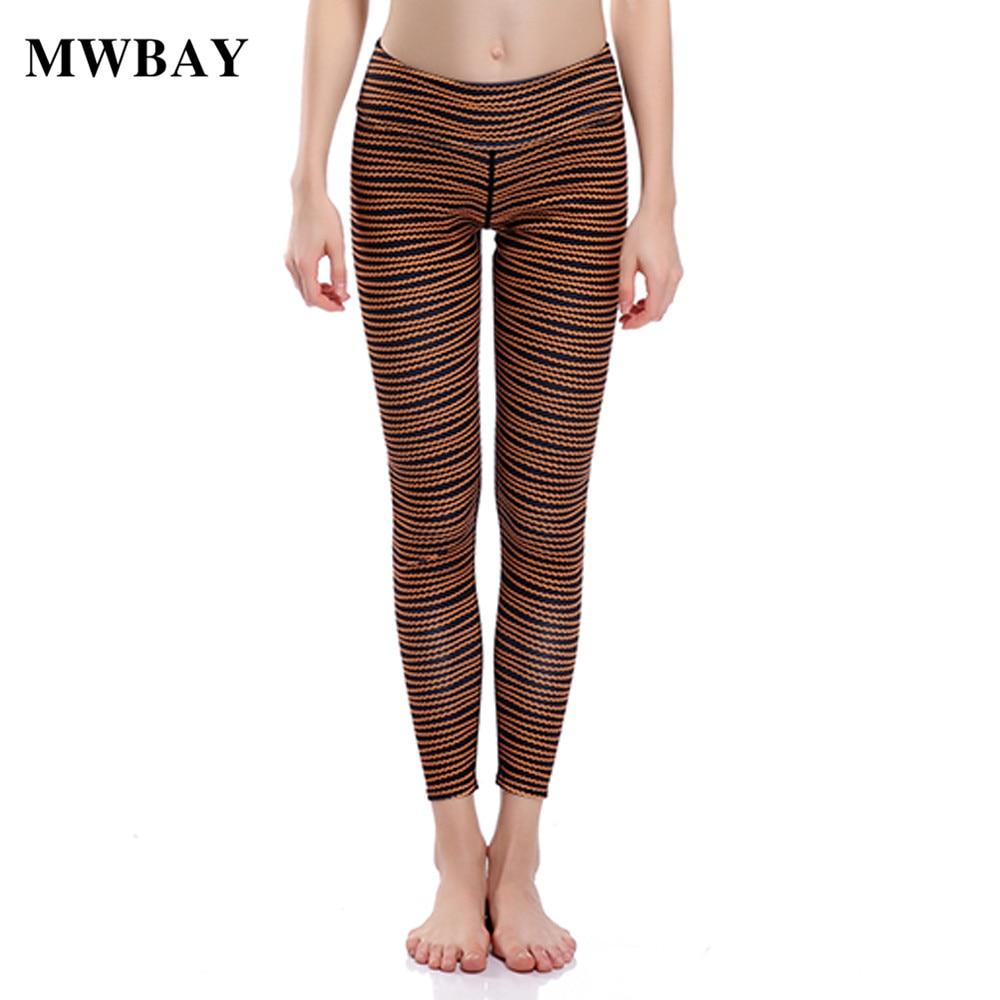 MWBAY Print Leggings Fitness Sexy Women Pencil Pants Brown Striped Mid Waist Ankle-Length Women's Trousers Pantalon