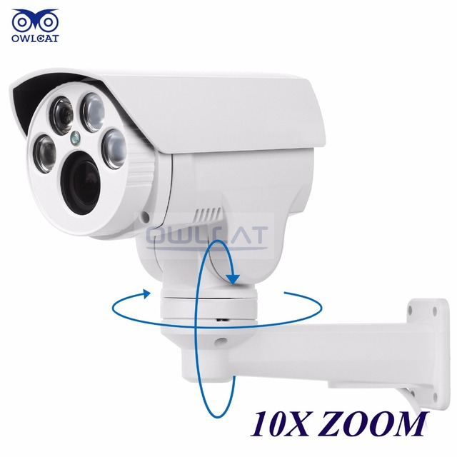Owlcat hi3516c + sony imx322 hd 1080 p ip cámara 4x 10x motorizado automático 2MP Varifocal Zoom PTZ IP Cámara Al Aire Libre IR cut Onvif RTSP