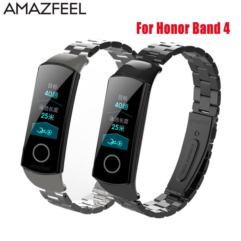 Metal Watch Band For Huawei Honor Band 4 Strap Metal Steel Wristband Huawei Band 4 Wrist Strap Stainless Steel Bracelet Replace