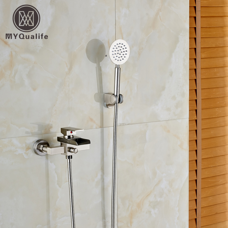 Wall Mounted Waterfall Bathtub Faucet Single Handle with Handheld Shower Head Bathroom Shower mixer Taps polished chrome handheld shower bathtub faucet set bathroom dual handle mixer taps wall mounted wtf901