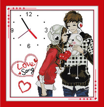 Forever love (horloge) kit point de croix 14ct 11ct compte impression toile horloge murale couture broderie couture à la main travaux manuels(China)