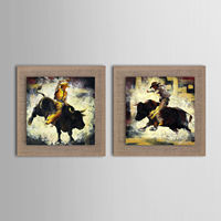 New Oil Painting Modern Abstract Bullfight Horse Race Set Of 2 Hand Painted Home Decoration Natural
