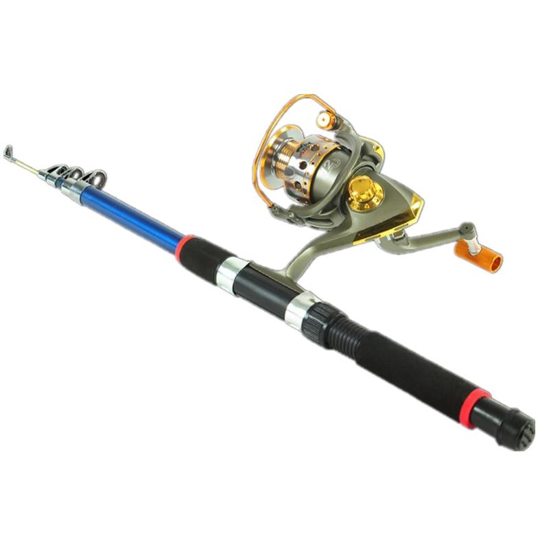 Speed ratio 5.5:1 Fishing Rod Telescopic Fiberglass Fish Pole Folding Adjustable Fish Rod With 200 Fishing Reel