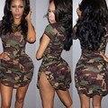 GZDL Новых Прибыть Dress Женщины Камуфляж Печати Сторона Сплит Стретч Bodycon Повседневная Лето Мини Сексуальная Рубашка Dress Vestidos CL2940