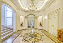 Laeacco Palace Interior Arch Door Chandelier Stairs Photography Backgrounds Customized Photographic Backdrops For Photo Studio