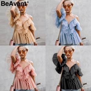 Image 4 - BeAvant Off shoulder womens tops and blouses summer 2019 Backless sexy peplum top female Vintage ruffle mesh blouse shirt blusas