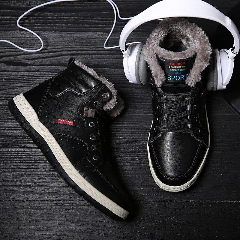 Chaussures Au Nouvelle Taille Krasovki High Appartements Peluche D'hiver En Neige Top Mode 2018 Black blue Casual Bottes brown Hommes 39 Chaud Garder Grande 47 Laceup fqqp5ra