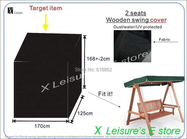 Free shipping 2 seater wooden swing chair cover,water-proofed cover. W170xD125xH168cm UV protect furniture cover.
