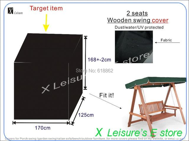 O envio gratuito de 2 lugares cadeira de balanço de madeira tampa, tampa à prova de água-. W170xD125xH168cm UV proteger cobrir os móveis.