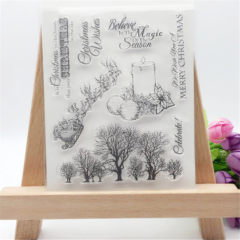 Merry Christmas Decorative Transparent Clear Stamp DIY Silicone Seals Scrapbooking/Card Making/Photo Album Decoration Supplies