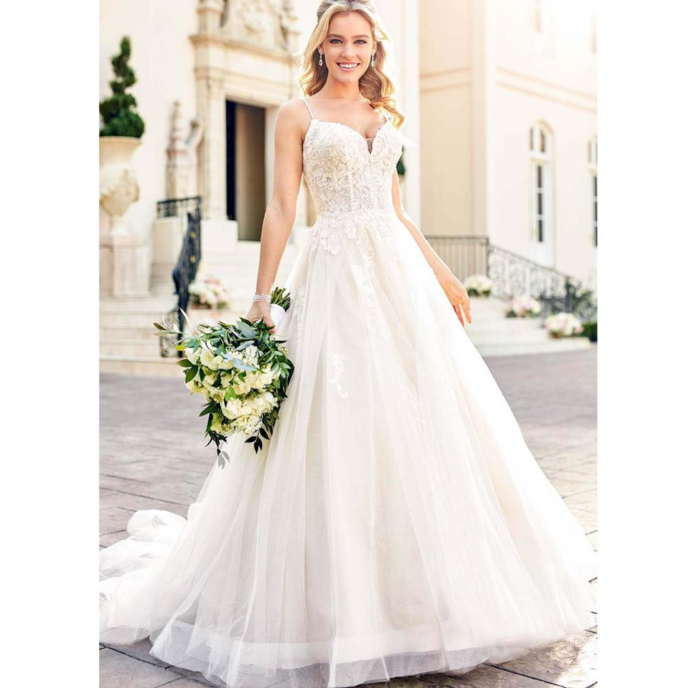 Vestidos De Noiva Bridal Gowns Gorgeous White Appliques Lace Backless Wedding Dress 2019 Bride Dresses Elegant Robe De Mariee in Wedding Dresses from Weddings Events