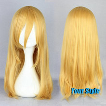 55cm Top Quality Long Straight Golden Blonde  Women Harajuku Cosplay Wigs Anime  Yellow Attack on Titan Christa Lenz Party Wig
