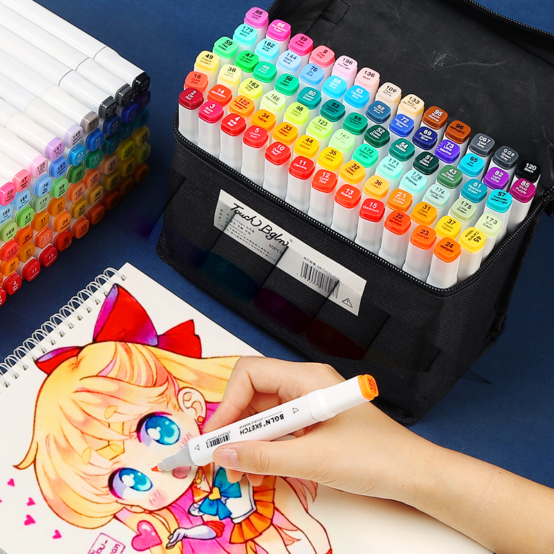 Double-headed marker pen 30/40/60/80 color hand-painted anime student design beginners colored pencil copic art supplies image