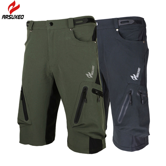 2a9c25a61 Arsuxeo Baggy Shorts MTB Bike Bicycle Shorts Breathable Loose Fit Outdoor  Sports Cycling Shorts with Zippered