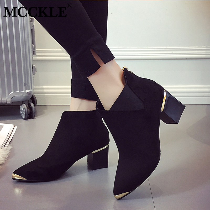 02d735b2f1fa ... Women Casual Platform Block Heel Chelsea Ankle Boots Winter Female  Flock Zipper Pointed Toe High Heels Warm Short Boots. -22%. Click to enlarge