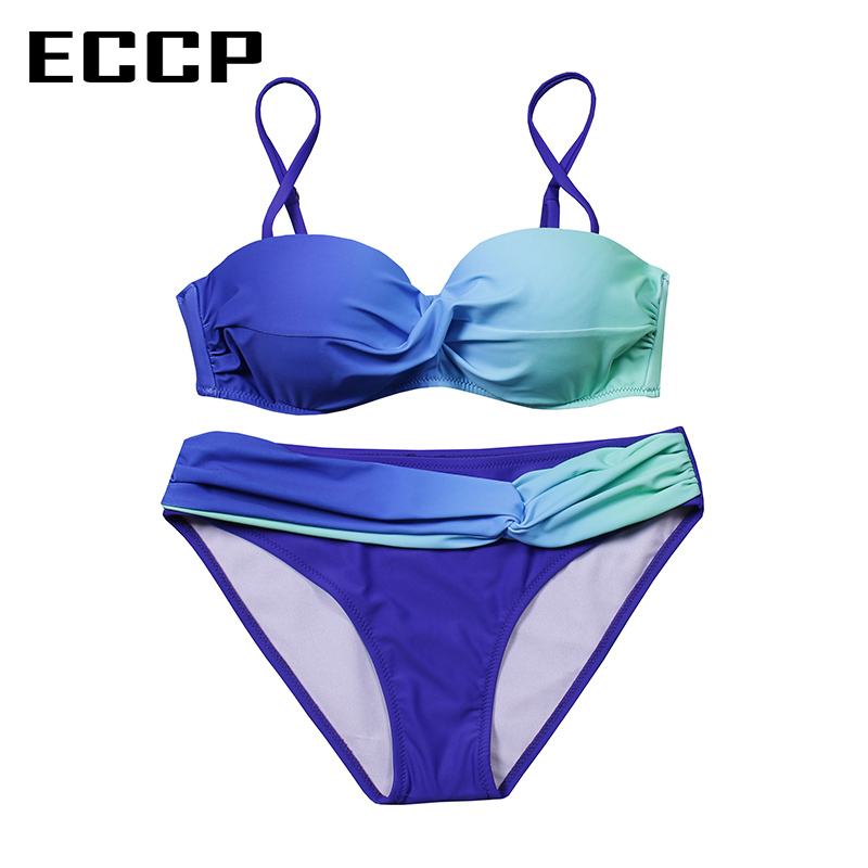 ECCP New 2019 Bikinis Women Swimsuit Female Swimwear Retro Sexy Summer Bikini Set Beach Swim Wear Summer Bathing Suits Biquini in Bikinis Set from Sports Entertainment