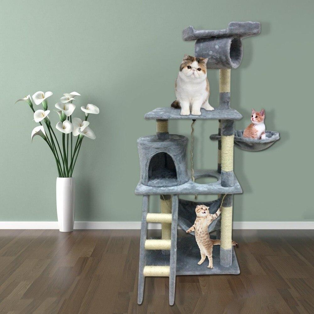 Новейшая кошка дерево башня Домашние животные Животные Играть дерево забавная царапина дерево скребок Жевательная скалолазание прыжки иг...
