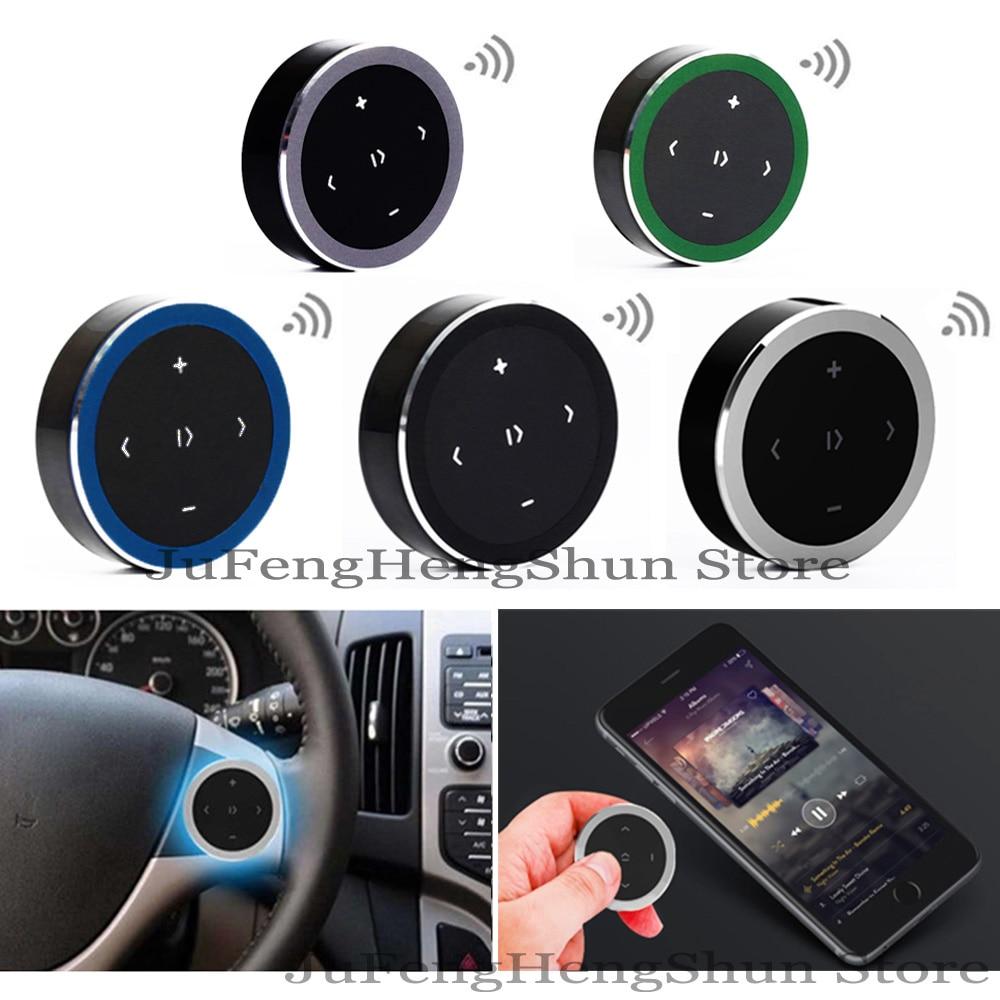 2 stk Trådløs Bluetooth Fjernbetjening Bil Rathjul Musik Foto Selfie Siri Smart Media-knap til iPhone Android-telefon